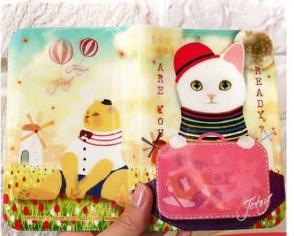 Super Cute Jetoy Choo Choo Cat Red Hat Hologram Passport Holder Case