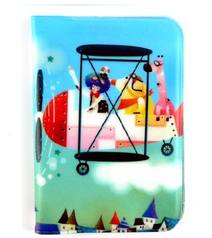 Colorful Animal Flying Over Town Name Credit Card Case Holder