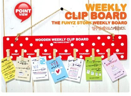 Cute Red With White Polka Dots Design Weekly Messages Peg Note Memo Clipboard Holder