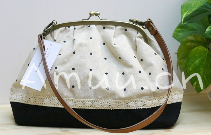 Sweet Zakka Style Big Cream With White And Navy Blue Polka Dots  Lace Trim Shoulder Bag