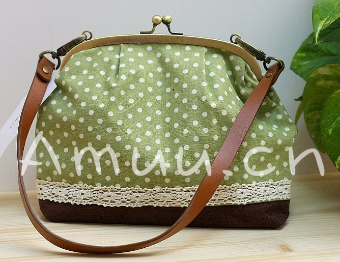 Sweet Zakka Style Big Green With White Polka Dots  Lace Trim Shoulder Bag