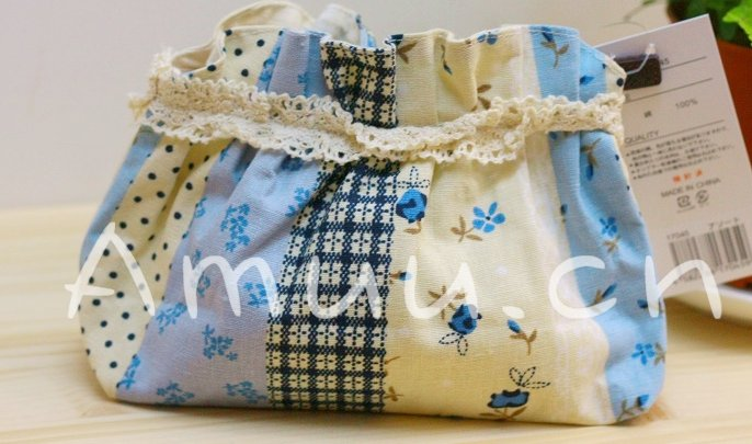Sweet Zakka Style Blue And Cream Flower Quilt Pattern Lace Cotton Pouch Small Bag