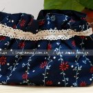 Sweet Zakka Style Dark Blue With Sweet Red Flower Pattern Lace Cotton Pouch Small Bag