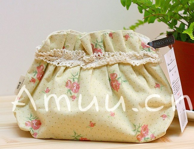 Sweet Zakka Style Pastel Yellow Grey Mini Polka Dots Roses Pattern Lace Cotton Pouch Small Bag