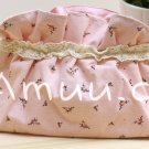 Sweet Zakka Style Light Rose Pink Brown Ribbon Bow Flowers Pattern Lace Cotton Pouch Small Bag