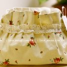 Sweet Zakka Style Cream Sweet Pink Red Roses Pattern Lace Cotton Pouch Small Bag