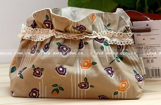 Sweet Zakka Style Dark Beige Retro Orange Purple Flowers Pattern Lace Cotton Pouch Small Bag