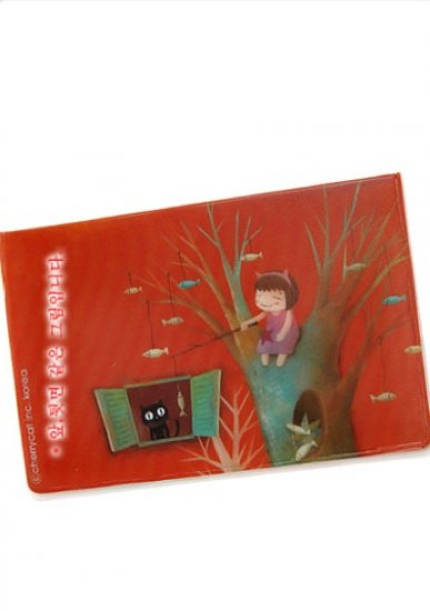 Sweet Red Little Girl Dangling A Fish At Cat Cartoon Name Credit Card Case Holder