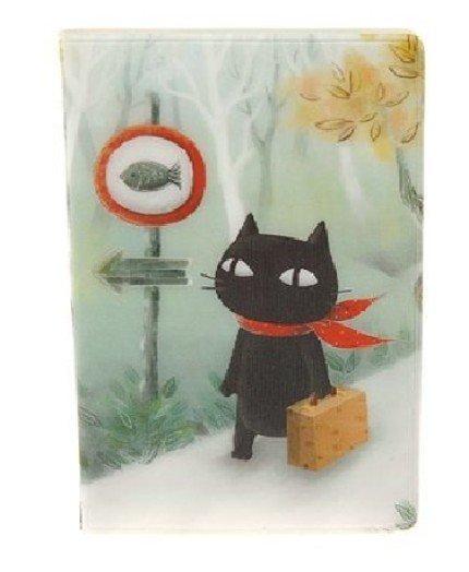 Cute Black Cat Going Fishing Cartoon Name Credit Card Case Holder