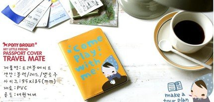 Cute Pony Brown Little Girl Cartoon Yellow Travel Passport Holder Case