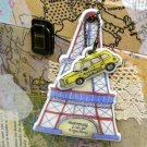 Quaint Retro Paris Tour Eiffel Tower And Taxi Cab Design Luggage Bag Name Tag Charm