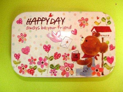 Cute Artbox Bear And Flowers Theme Trinket Metal Box
