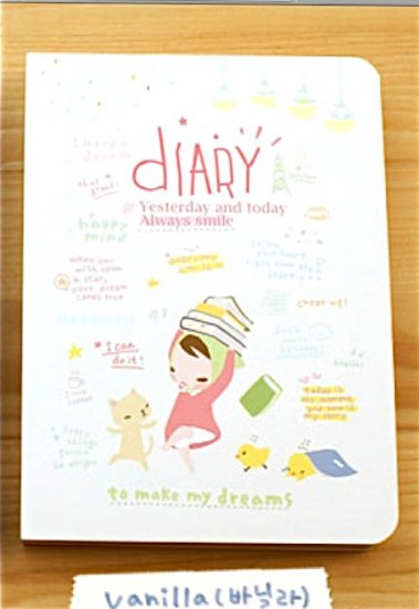 Cute Vanilla White Pony Brown Girl Study Books Cartoon Korea Any Year Diary Planner