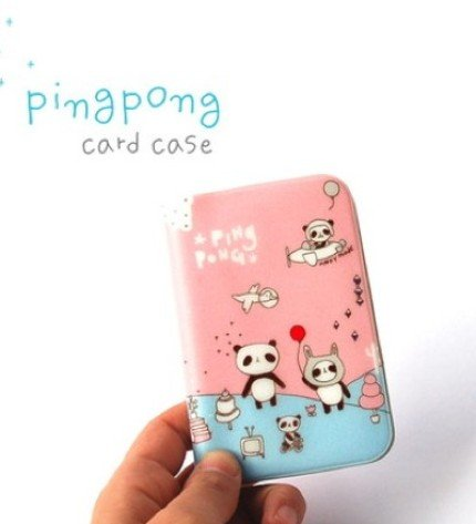 Cute Pink Panda Bear Cartoon Name Credit Card Case Holder