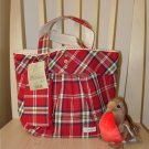 Pretty Zakka Style Red With White Plaids Lace Cotton Tote Bag With Matching Purse