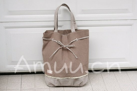 Sweetest Zakka Japanese Rustic Brown Grey Checks Cotton Tote Shoulder Bag