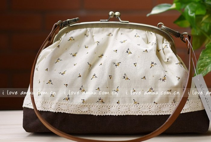 Sweet Zakka Style Big Cream With Dainty Brown Flowers Lace Trim Shoulder Bag