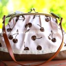 Sweet Zakka Style Big Cream Brown Cherry Fruit Lace Trim Shoulder Bag