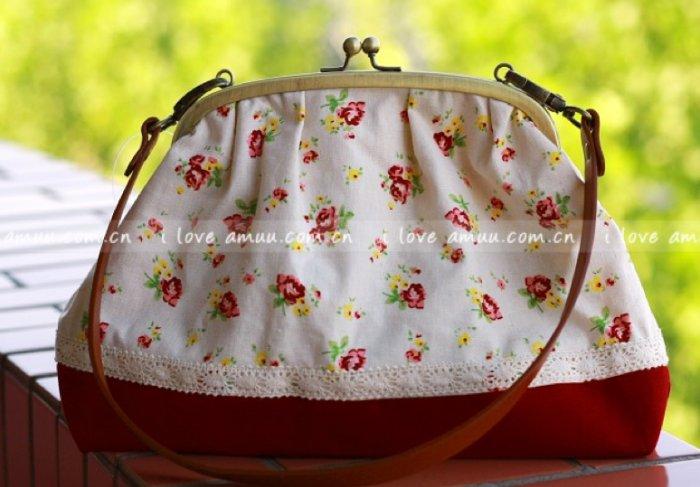 Sweet Zakka Style Big Red Flowers Lace Trim Shoulder Bag