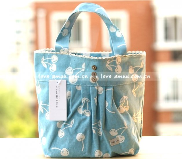 Lovely Zakka Blue Cherry Fruits Cotton Tote Bag KEEP WARM Lunch Bag