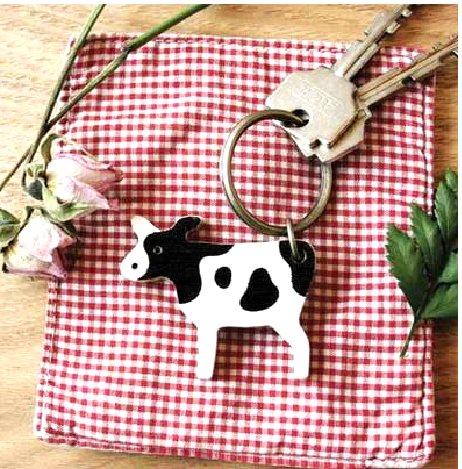 Fun Black White Cow Wooden Keychain
