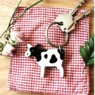 Fun Black White Cow Wooden Keychain