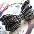 BIG Black White Checks Ribbon Bow Hairband Headband