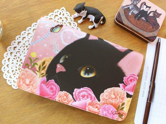 Cute Jetoy Black Cat Pink Roses Multi Purpose Big Bank Passport Holder Case