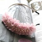 Pink Bridal Prom Chiffon Like Pearl Bow Hairband Headband