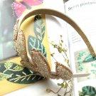 Ivory Beige Bridal Prom Leave Design Bow Hairband Headband