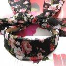 Lovely Black Pink Flowers Long Tail Hairband Headband