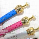 Retro Gold Crown Faux Pearl Metal Ballpoint Pen - Blue