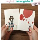 Zakka Mod Girl Red Balloons Flowers SMALL Notebook Journal 2 Designs