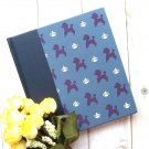Zakka Art Deco Retro Blue Poodles Dog Crown Fabric Cover Notebook Scrapbook Journal