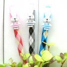 Kawaii Argyle Checks Rabbit Animal Ballpoint Pens 3's