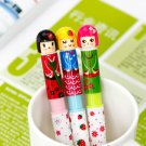 Kawaii Colorful Sakura Japanese Doll Girl Ballpoint Pens 3 In A Set