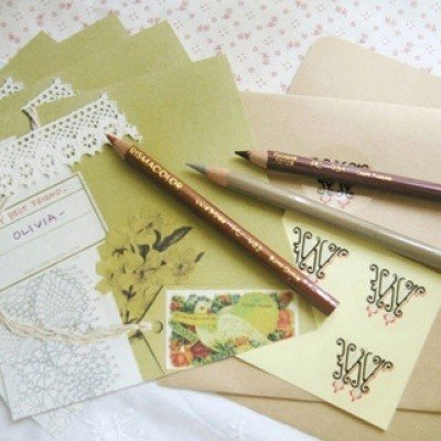 Retro Flower Lace Bird Ribbon Letterset Letter Set