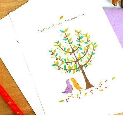 Zakka Trees and Birds Letter Set Letterset
