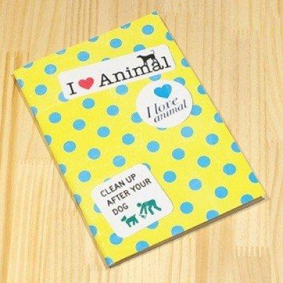 Retro Yellow Blue Polka Dots I LOVE ANIMALS Notebook Journal