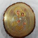 Hand Painted on wood Romania Orthodox icon Virgin Mary & Jesus ( 29 x 25 cm )
