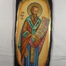 Hand Painted on wood Orthodox icon Saint Basil the Great ( 54 x 23 cm ) - Traditional From Romania