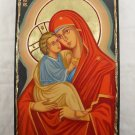 Hand Painted on wood Orthodox icon Mother of God & Jesus ( 44 x 27 cm )  - Traditional From Romania