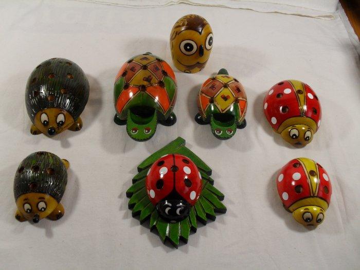 Pencil Holder Ladybug Owl Frog Hedgehog Wood HandCrafted - Funny SMALL VERSION