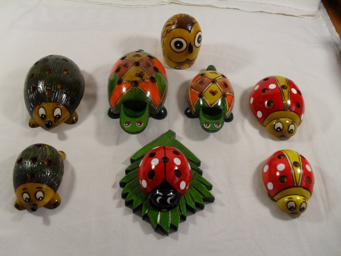 Pencil Holder Ladybug Owl Frog Hedgehog Wood Hand-Craft - Funny BIG VERSION