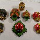 Pencil Holder Ladybug Owl Frog Hedgehog Wood Hand-Craft - Funny BIG VERSION