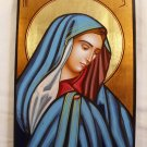 Hand Painted on wood Orthodox icon Virgin Mary ( 29 x 21 cm ) Traditional From Romania