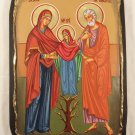 Hand Painted on wood Byzantine Icon Virgin Mary & Saints Joachim and Anne ( 41 x 29 cm )