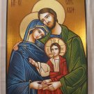 Painted on wood Romanian Orthodox Icon The Holy Family  (40 x 30 cm) Traditional From Romania