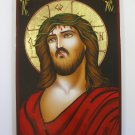 Painted on wood Orthodox Icon Jesus wearing a crown of thorns(29 x 21 cm) Traditional From Romania