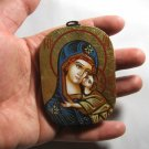 Small Painted on wood Romanian Orthodox Icon Virgin Mary & Jesus - Traditional From Romania